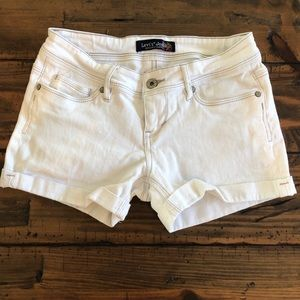 Levi's white cuffed jean shorts- genuinely crafted